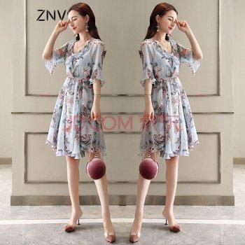ZNV2018新款裙子女夏超仙连衣裙小个子温柔裙高腰小清新印花雪纺中裙 浅蓝色 S